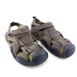 Crocs Mens 12 Swiftwater Leather Water Sandals